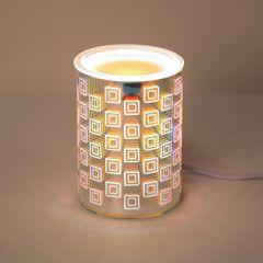 3D Electric wax melt burner 14cm with light - square design
