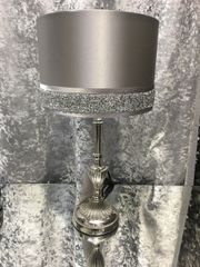 Beautiful silver lamp stand with silver shade and crystal crackle detail - medium