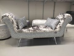 Stunning Mercury lustro crushed velvet - silver glitter double ended chaise lounge