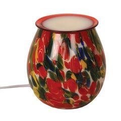 Art glass electric wax burner with light - 14cm