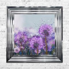 Stunning Purple liquid art flower picture 55cm x 55cm with chrome frame