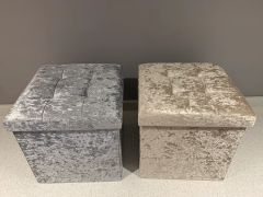Crushed velvet foldable storage boxes/stools - colour options & glitter button options