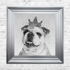Stunning British Bulldog liquid art & crystal detail picture in chrome frame - 55cm x55cm