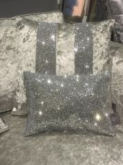 Stunning Silver full glitter Claira scatter cushion- crackle silver 14x10 inch