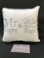 Mr Right & Mrs always right ring cushion - wedding