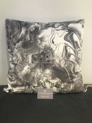 Stunning grey & white Marble design printed velvet scatter cushion