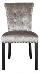 Champagne crushed velvet dining chair with button effect