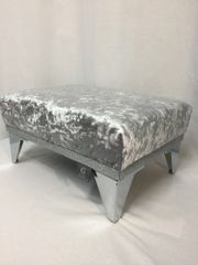 Beautiful gunmetal grey crushed velvet with disco silver glitter footstool - small