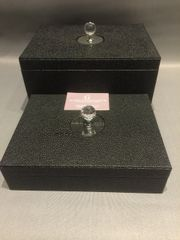 Set of 2 faux leather stingray design storage boxes crystal handle