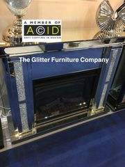 Stunning Crystal Crackle and mirror Fire surround - including electric fire