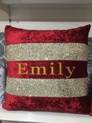 Beautiful personalised Ava glitter scatter cushion & velvet - colour options
