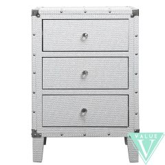 Beautiful white with silver glitter 3 bedside drawer