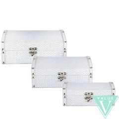 White with silver glitter storage chests - size options