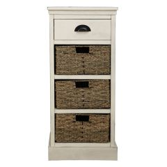 Beautiful shabby Chic natural finish drawer and 3 basket set