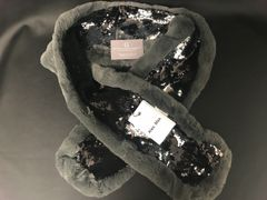 Alex Max dark grey faux fur & mermaid black& silver sequin scarf