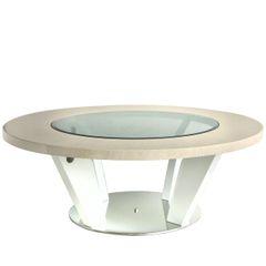 Beautiful Voke light Ivory & Walnut round coffee table