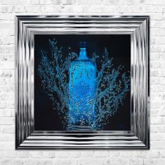 Gin bottle wall art with liquid sparkle detail 55cm x 55cm in chrome frame