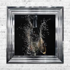 CHAMPAGNE BOTTLE Wall Art 55cm x 55cm - Chrome Frame - liquid art