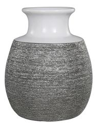 Scratched silver & white art deco short vase