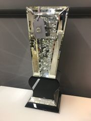 Beautiful floating crystal and mirror pillar vase with black detail