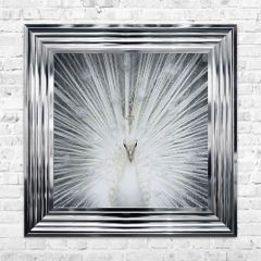 Stunning liquid art with crystal detail Peacock - 55cm x 55cm with chrome frame