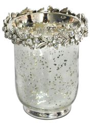 sparkle antique silver collection - hurricane jar with crystal flow detail