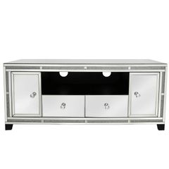 Beautiful Crystal Crackle and mirror entertainment unit with doors and drawers