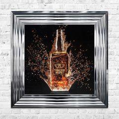 Bottle whiskey liquid art picture in chrome frame 55cm x 55cm