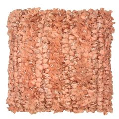 Pretty Dusky Pink Shaggy Plait Cushion with repeated knot Pattern