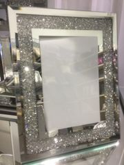 Beautiful crackle crystal and mirror photo frame size options