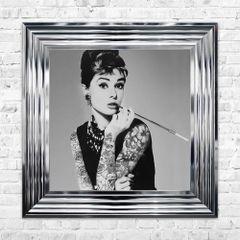 Audrey Hepburn liquid art print 55cm x 55cm in chrome silver frame