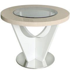 Beautiful Voke light Ivory & walnut round table
