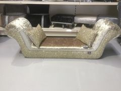 Stunning double ended chaise in Chartreuse gold velvet - gold/silver mix glitter