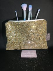 Stunning Gold glitter makeup bag -velvet lined