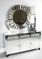 Stunning crystal crackle & mirror sideboard with crystal handle detail