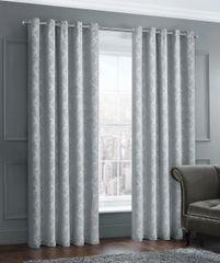 stunning damask grey eyelet ready made curtains - size options