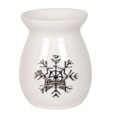 White Ceramic Snowflake Wax Melt Burner 13.5cm