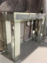 Stunning mirror crushed crystal crackle diamond console table/ hallway table
