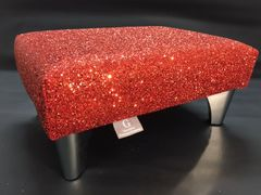 Luxury Red Sparkle Glitter Footstool Small