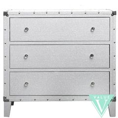 Beautiful white with silver glitter 3 drawer chest of drawers