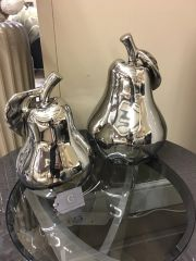 Beautiful silver pear decoration - size options