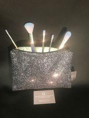 Stunning Gunmetal grey glitter makeup bag - velvet lined