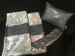 Stunning Grey glitter bedroom set - Bed runner - claira cushion - curtain tiebacks