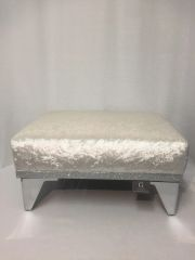 Stunning Pearl white velvet with silver disco glitter footstool - small