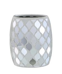 Beautiful silver mirror mosaic moroccan tea light holder/makeup brush holder
