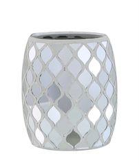 Beautiful silver mirror mosaic moroccan tea light holder/makeup brush holder