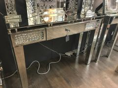 Beautiful floating crystal and mirror console table with drawer