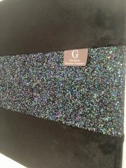 Luxury Black crushed velvet with stunning petrol glitter wall art - size options
