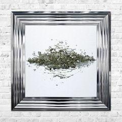 Aluminium Panel 1 Metallic Golds 55cm x 55cm liquid art with chrome frame