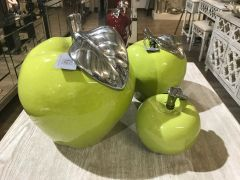 Green Apple with silver detail ornament - size options